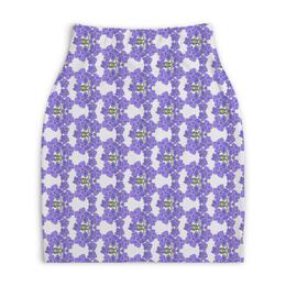 "Юбка-карандаш укороченная ""Фиалки"" - арт, цветы, фиолетовый, паттерн, фиалка"