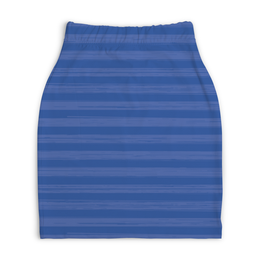 """Юбка-карандаш укороченная """"В полоску"""" - полоска, голубой, рисунок, синий, неровная"""
