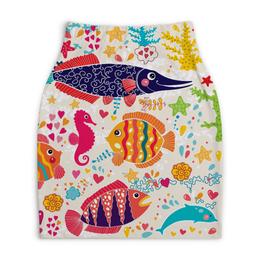 "Юбка-карандаш укороченная ""Обитатели моря 2"" - море, рисунок, рыбки, обитатели моря"