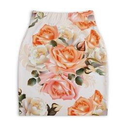 "Юбка-карандаш укороченная ""Чайная роза"" - розы, цветы"