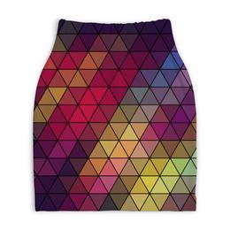 """Юбка-карандаш укороченная """"ВИТРАЖ """" - треугольники, витраж, яркие цвета, градиент"""