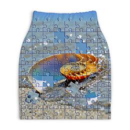 """Юбка-карандаш укороченная """"Ракушка в морской пене Паззл """" - ракушка в морской пене, морская ракушка, морская раковина, на берегу моря, паззл ракушка морская"""