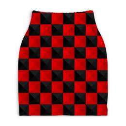 """Юбка-карандаш укороченная """"Красная и Чёрная клетка"""" - дизайн, клетка, красное и чёрное"""