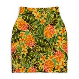 "Юбка-карандаш укороченная ""Ананасы"" - узор, листья, фрукты, тропики, ананасы"