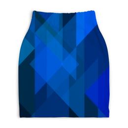 """Юбка-карандаш укороченная """"Синий абстрактный"""" - графика, синий, краски, абстракция, треугольники"""