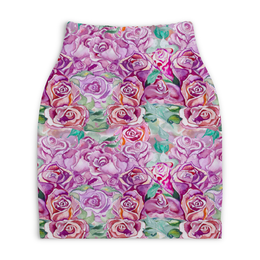 """Юбка-карандаш укороченная """"юбка из акварельных роз"""" - роза, летний, сад, розовый, акварель"""