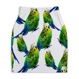 """Юбка-карандаш укороченная """"Попугаи"""" - попугаи, птицы, животные, попугай, птички"""