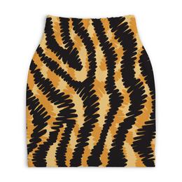 """Юбка-карандаш укороченная """"Тигровый"""" - узор, рисунок, полосы, тигровый, звериный"""