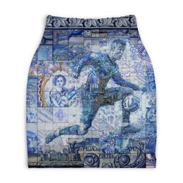 """Юбка-карандаш укороченная """"Роналдо"""" - футбол, спорт, мозаика, роналдо"""
