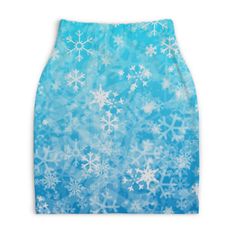 "Юбка-карандаш укороченная ""Снежинки"" - зима, снег, снежинки"