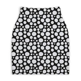 """Юбка-карандаш укороченная """"Белый горошек"""" - узор, стиль, орнамент, абстракция, классический"""