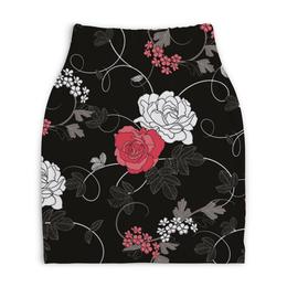"""Юбка-карандаш укороченная """"Красная и белая розы"""" - цветы, белое, красное, розы"""