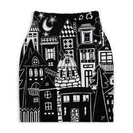 """Юбка-карандаш укороченная """"Город вместе  с тобой"""" - рисунок, дом, творчество, чб, художник"""