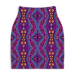 """Юбка-карандаш укороченная """"Фиолетовая мозаика"""" - мозаика, узор, краски, фиолетовый, ромбы"""