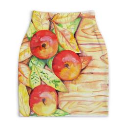 """Юбка-карандаш укороченная """"Осенние Яблоки"""" - листья, осень, дерево, иллюстрация, яблоки"""