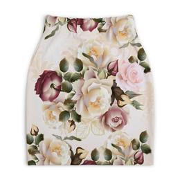 """Юбка-карандаш укороченная """"Розовые розы"""" - цветы, розы"""