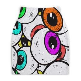 """Юбка-карандаш укороченная """"Глаза"""" - глазки, мульт, узор, круги, глаза"""