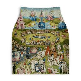 """Юбка-карандаш укороченная """"Сад земных наслаждений"""" - картина, сад, искусство, босх"""