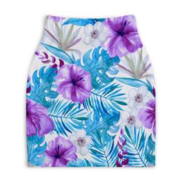 """Юбка-карандаш укороченная """"Тропические цветы"""" - лето, тропики, природа, summer, цветы"""
