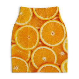 """Юбка-карандаш укороченная """"АПЕЛЬСИНКИ"""" - фрукты, оранжевый, апельсины"""