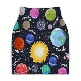 """Юбка-карандаш укороченная """"Планеты"""" - галактика, созвездия, звезды, космос, планеты"""