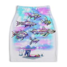 """Юбка-карандаш укороченная """"Underwater"""" - рыбы, подводный мир, фантазия, фэнтези, волшебный мир"""