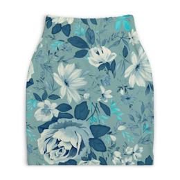 """Юбка-карандаш укороченная """"Цветы. Акварель"""" - акварель, цветы, роза, синий, лист"""