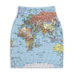 """Юбка-карандаш укороченная """"Карта мира"""" - мир, страны, карта, политика, география"""