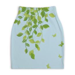 """Юбка-карандаш укороченная """"Лето. Summer"""" - бабочки, лето, листья, дизайн, графика"""