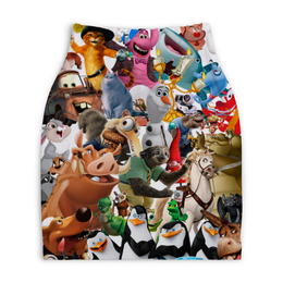 """Юбка-карандаш укороченная """"Cartoons"""" - мультяшки, мультфильм, персонажи, pixar"""