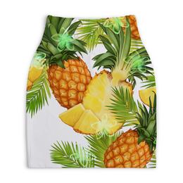 """Юбка-карандаш укороченная """"Ананасы"""" - фрукты, рисунок, тропики, ананасы"""