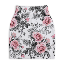 "Юбка-карандаш укороченная ""Цветы"" - цветы, розы"