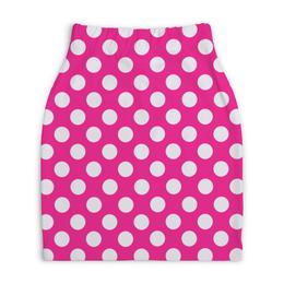 """Юбка-карандаш укороченная """"Белый горох"""" - стиль, дизайн, розовый, горох"""