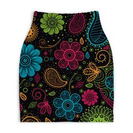 """Юбка-карандаш укороченная """"Цветочная"""" - цветы, узор, стиль, рисунок, орнамент"""