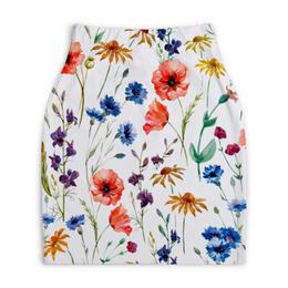 """Юбка-карандаш укороченная """"Полевые цветы"""" - красиво, цветы, природа, полевые цветы"""