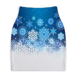"""Юбка-карандаш укороченная """"Узор зимний"""" - зима, снег, снежинки, новый год, узор"""