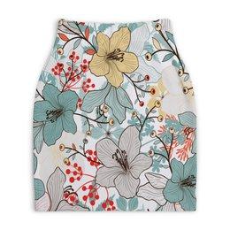 """Юбка-карандаш укороченная """"Цветочный сад"""" - природа, деревья, цветы, листья, узор"""