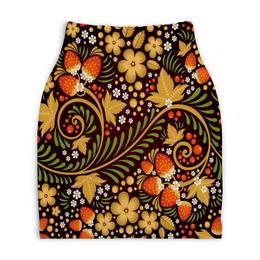 """Юбка-карандаш укороченная """"Ягоды"""" - цветы, узор, лес, ягоды, клубника"""