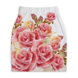 """Юбка-карандаш укороченная """"Букет роз"""" - цветы, розы"""