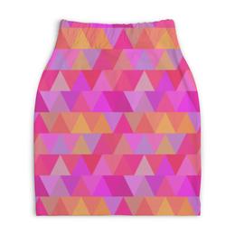 """Юбка-карандаш укороченная """"Полигонал"""" - арт, узор, розовый, полигональный"""