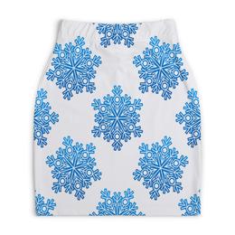 """Юбка-карандаш укороченная """"Голубые снежинки"""" - новый год, узор, голубой, снег, снежинки"""