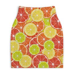 "Юбка-карандаш укороченная ""Цитрусы"" - апельсин, лайм, лимон, грейпфрут, дольки"