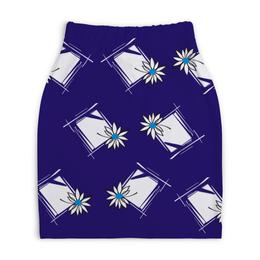 """Юбка-карандаш укороченная """"ромашка в раме"""" - купить, юбку, стиль, дизайн, с цветами"""