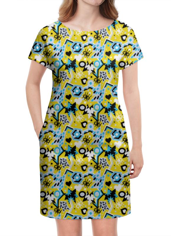 Платье летнее Printio Поп арт дизайн. глаза сердце звезды паттерн юбка карандаш укороченная printio поп арт дизайн глаза сердце звезды паттерн 1