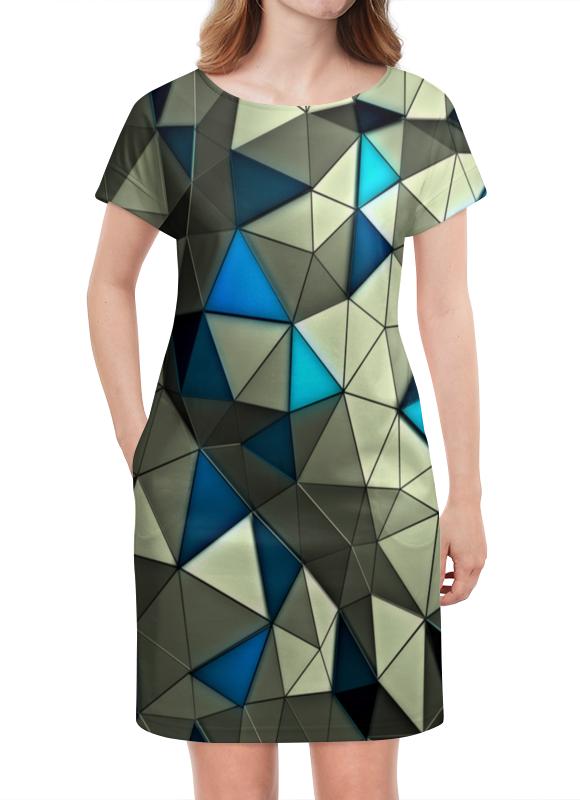 Платье летнее Printio Стекло серо-голубое платье голубое в белый горошек