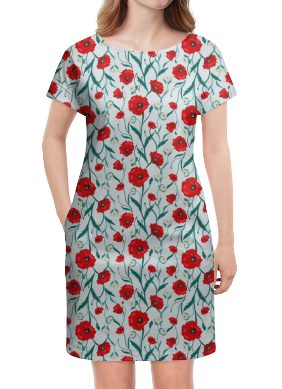 Платье летнее Printio Красные маки на белом фоне цена