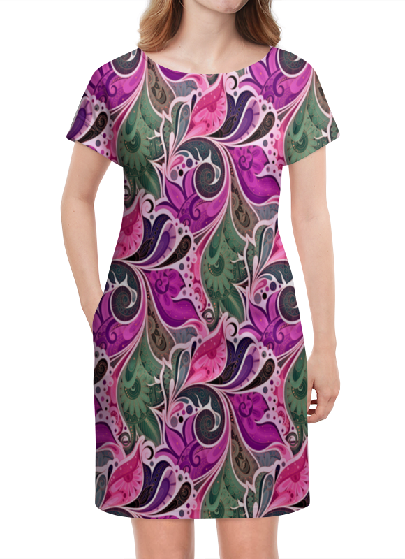 Платье летнее Printio Цветы расписные платье летнее printio расписные черепа