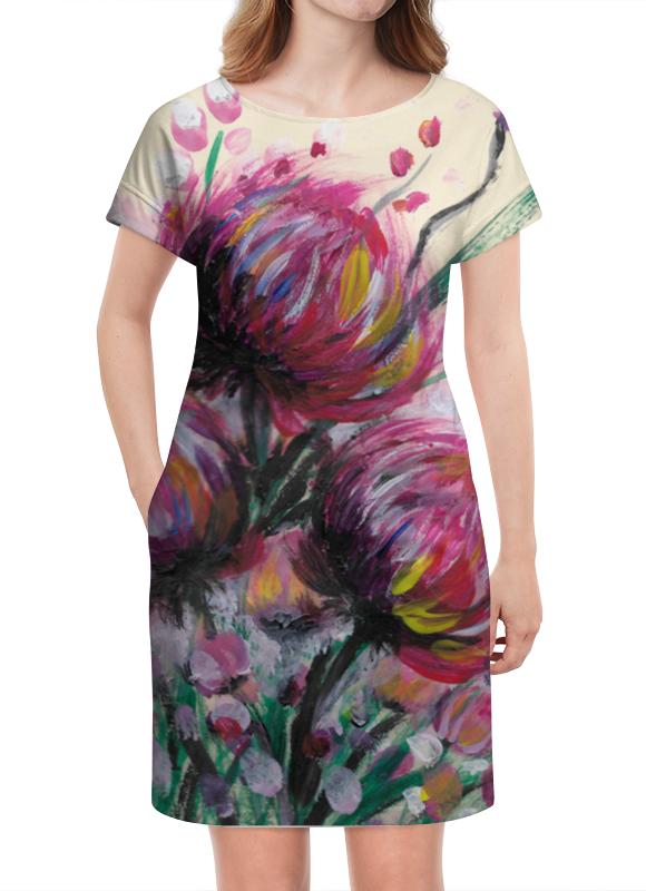 Платье летнее Printio Розовые хризантемы татьяна шпинькова белые хризантемы