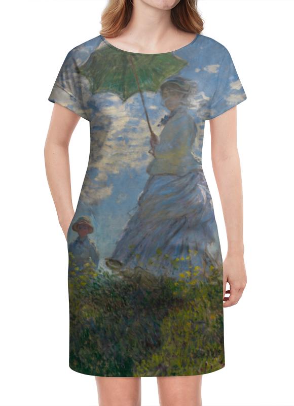 Платье летнее Printio Дама с зонтиком — мадам моне со своим сыном картина из кожи дама с зонтиком моне коллекция elole interior синий сплошн холст прямоуг рама