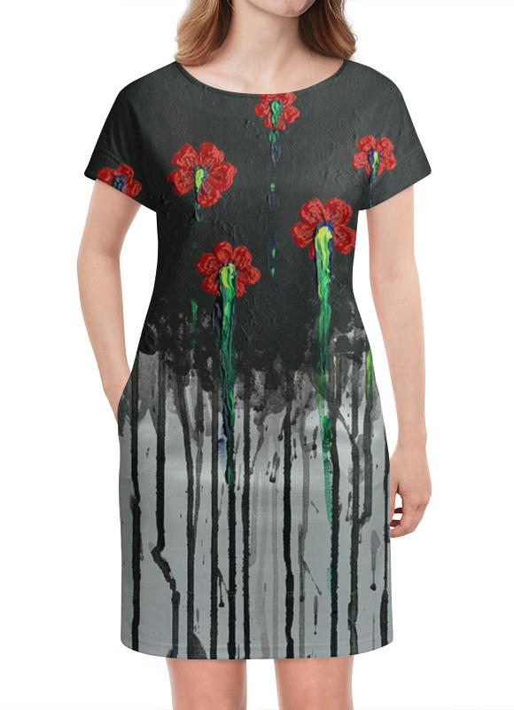 Платье летнее Printio Красные маки ваза луговые маки